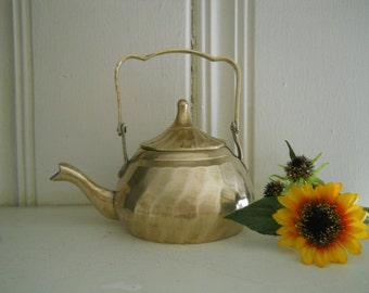 Solid Brass Handled Teapot Hollywood Regency Decor Mothers Day Free Shipping