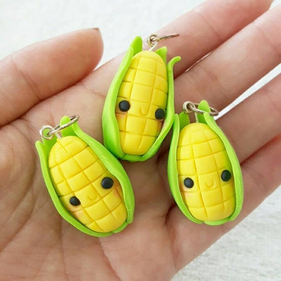 Corn Necklace Charms, Corn Charm, Vegetable, Corn, Veggie, Polymer Clay Pendant, BFF, polymer clay, clay pendant, Kawaii, Chibi, Clay Charm