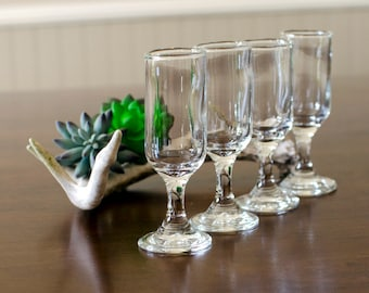 Miniature Cordial Clear Glass Stemware (Set of 4) - After Dinner Shot Glass Shooter - Vintage Home Barware