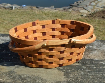 small Flower girl basket oval Honey Locust wood with handles