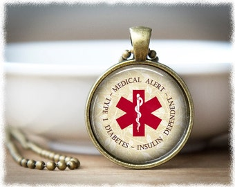 Diabetes Necklace • Medical Alert Jewelry • Type 1 Diabetes • Medical Necklace