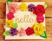 "Spring flowers ""hello"" wood sign home decor"