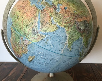 Vintage Globe, Replogle, Land and Sea Globe, Vintage World Globe, 12 Inch Globe, Vintage History