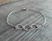 Three circles bracelet, Sterling silver bracelet, 3 decades, Dainty silver bracelet, 30's gift
