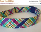 """Sale 50% Off Navy,Turquoise & Magenta Plaid Dog Collar -""""Jeffrey"""" - NO EXTRA Charge for colored buckles"""