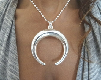 Large sterling silver pendant. Moon pendant.