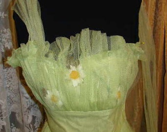 1940's  Lime green tulle strapless evening gown.
