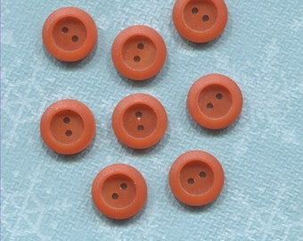 Set of 8 Small Old Orange Plastic (9/16 in) Buttons-(AFM85)