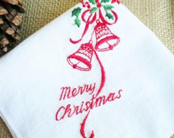 Vintage Merry Christmas Hankie/ Embroidered Hankie/Retro Hankie/ Red And White Hankie/Holiday Decor/Stocking Stuffer/Wedding Hankie