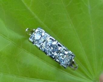 DEADsy LAST GASP SALE Antique Three Stone Diamond Engagement 1800s Old Mine Cut, Half Carat 1700s Peruzzi Cut, 14K, Victorian, Edwardian