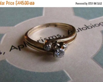 DEADsy LAST GASP SALE Golden Ellipse: Diamond Vintage Engagement Ring, Handcrafted Yellow Gold 14K size 6
