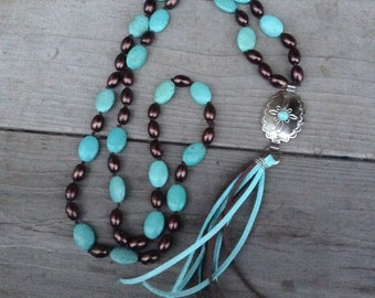 Long western silver concho tassel knotted turquoise magnesite and brown glass pearl necklace #NK27