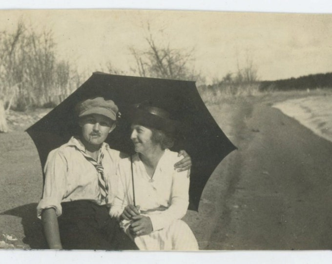 Couple, Cross-Dressed Woman, c1910s Vintage Snapshot Photo [65455]