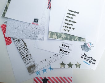 Handmade stationery set with military theme