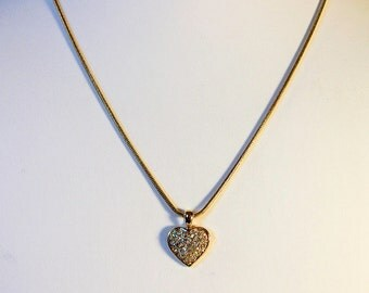 Gold Rhinestone Heart Pendant Necklace    18 Inch Snake Chain