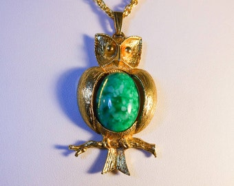 Vintage Gold Owl Necklace   Owl Pendant  Turquoise Blue Jelly Belly   Whimsical