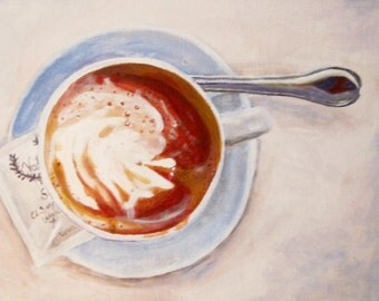 Coffee at the Café Painting 6 x 8 in.