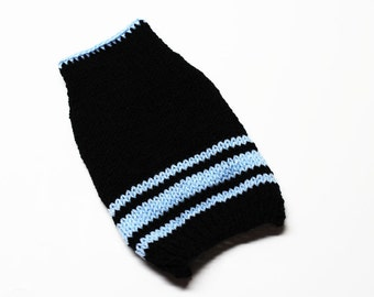 Black and Blue Hand Knit Dog Sweater
