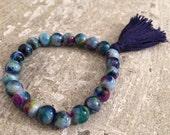 Multi color jade beaded bracelet with navy blue tassel; mala beads; tassel bracelet