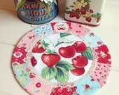 sweet vintage strawberry patchwork doily no.3