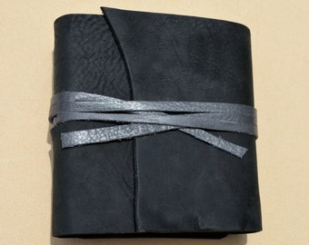 Small Handmade Leather Bound Journal Black Diary Drawing Pocket Notebook (562B)