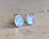 SALE Moonstone Stud Earring- Stud Earrings- Rainbow Moonstone Earrings- Silver Stud Earrings- Rainbow Moonstone Studs- Stone Stud- Gemstone