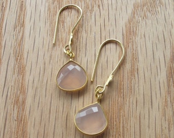 SALE Gold Pink Quartz Earrings- Pink Quartz Earrings- Pink Earrings- Pink Stone Earrings- Gold Stone Earrings- Silver Pink Earrings- Earring