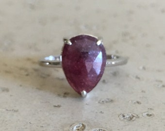 Prong Ruby Promise Ring- Solitaire Red Gemstone Ring- Sterling Silver Ruby Ring- July Birthstone Ring- Pear Shape Anniversary Rings