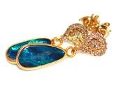 Australian Lightning Ridge Opal Earrings Opal Jewelry Delicate Earrings Aqua Earrings Gemstone Jewelry Valentines Gift for Her FizzCandy