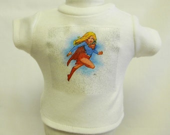 Supergirl Theme Silver Glitter Transfer T-Shirt For 16 or 18 Inch Dolls Like The American Girl Or Bitty Baby