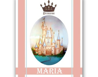 Princess Cinderella's Castle Wall Art for Nursery Girls rooms, Personalized Wall Art , Custom Name, 8 x 10 Original Art prints for Children