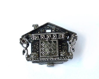 Vintage Chalet Brooch Watch Sterling Silver  marcasites nonworking Tenexact Incabloc recycle upcycle reuse