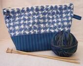 Vintage Houndstooth Print and Stripe Project Bag