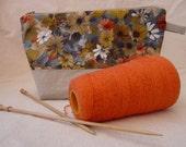 Vintage 60s Orange Floral Project Bag