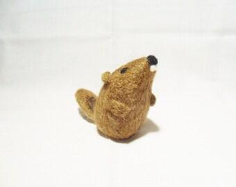 Needle Felted Groundhog -  miniature groundhog figure - 100% Shetland wool - wool felt groundhog - groundhog day