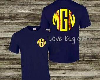Monogrammed Softball - Short Sleeve Shirt