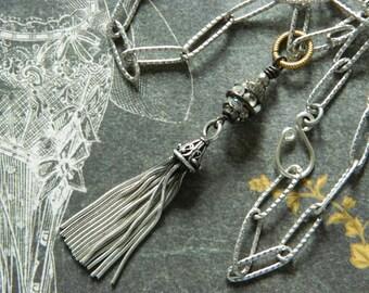 Silver Tassel Necklace Assemblage Sterling Silver Tassle Vintage Rhinestones