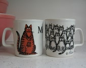 Vintage Pair Kliban Ironstone Cat Mugs - Momcat, Many Cats, Whimsical Cats, Kiln Craft, Staffordshire Potteries, 1970's Decor