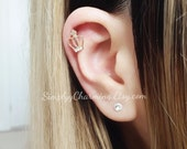 Tiny Crown Cartilage Earring Gold Rhinestone Helix Princess Jewelry