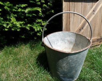 Vintage Galvanized Metal Bucket