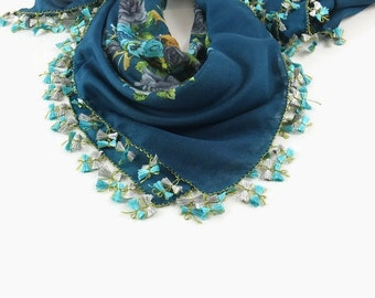 Chemo Had Scarf - Turkish Oya scarf - Patrol blue  floral - Oya Crochet Bow Tie Edges -  Square Scarf -  Turban Headwrap - Muslim Scarf