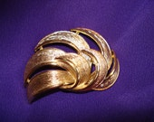 Givenchy Gold Swirl Abstract Leaf Brooch