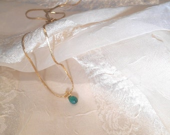 20% SALE Emerald Briolette Necklace Handmade Wire Bail
