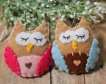Owl Ornament set-Mini owls-Handmade felt owl ornaments-Mini tree ornaments-Party favors-Set of 2