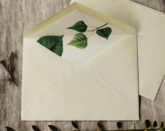 Leaves Lined Envelopes Liner Botanical Wedding