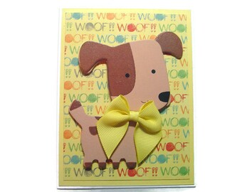 Brown Wooden Dog Card Dog Lover's Card Kids Cards Note Cards