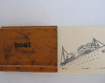 vintage wood image stamp - boat - ship - rubber image stamp - art supply - ink pad - art - print - school supply - art supply - collection