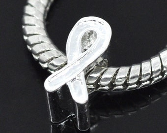 2 pieces Silver Plated Ribbon Awareness European Beads
