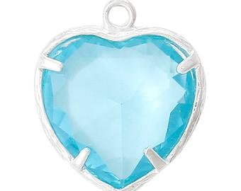 1 Piece Pretty Silver Plated Heart March Birthstone Charm Pendant