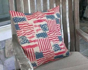 American Flag Printed Burlap Pillow Cover - Various Sizes Available